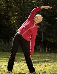 Elderly woman stretching